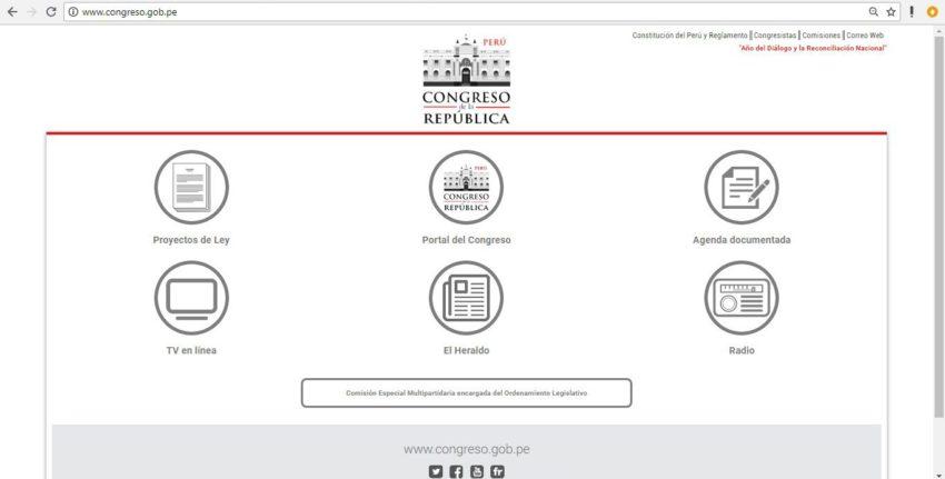 La página de inicio del Congreso