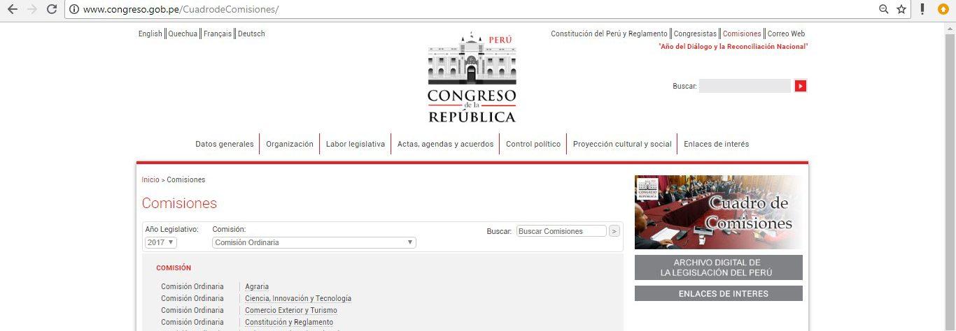 El link que se muestra es: http://www.congreso.gob.pe/CuadrodeComisiones/