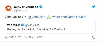 Últimos tweets emitidos por los clubes de los jugadores afectados por el COVID-19. (Foto: Twitter Los Angeles Rams / Denver Broncos)