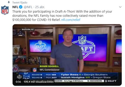La NFL realizó por primera vez en su historia un draft virtual. (Foto: Twitter NFL)