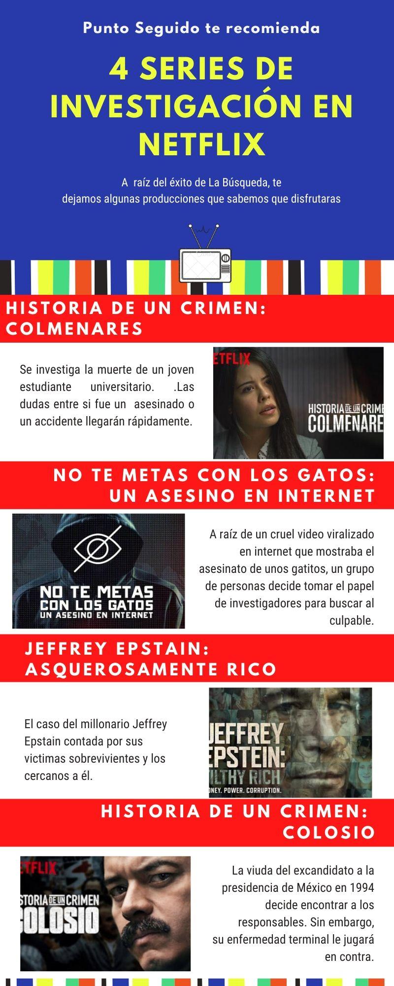 infografia: 4 series de investigación en netflix